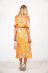 Floral Wrap Midi Dress - Yellow