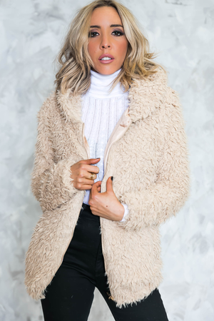 Terry Fur Hoody Jacket - Beige - Haute & Rebellious