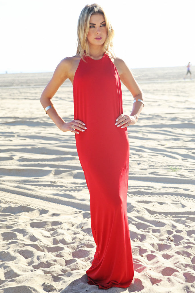 Bendall Draped Halter Maxi Dress - Red