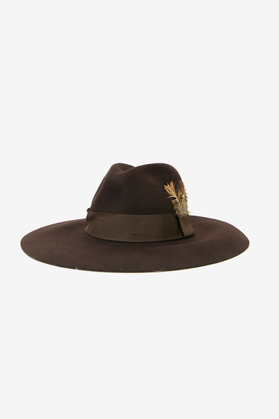Feather Detail Floppy Hat - Brown