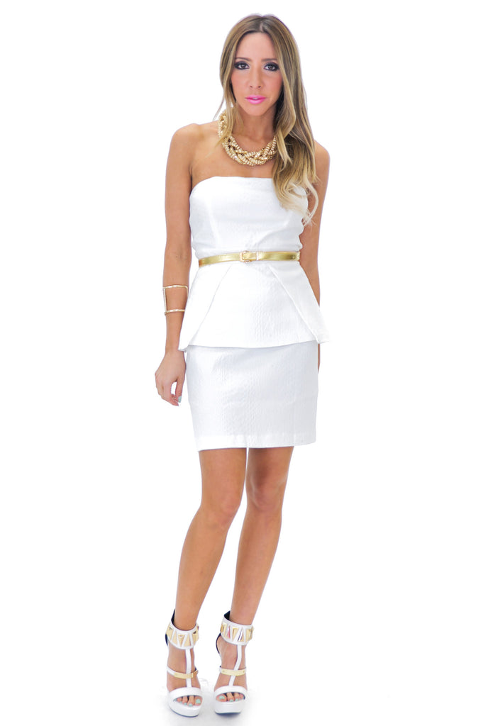SANIA STRAPLESS PEPLUM DRESS
