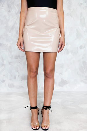 Vegan Patent Leather Mini Skirt - Nude - Haute & Rebellious