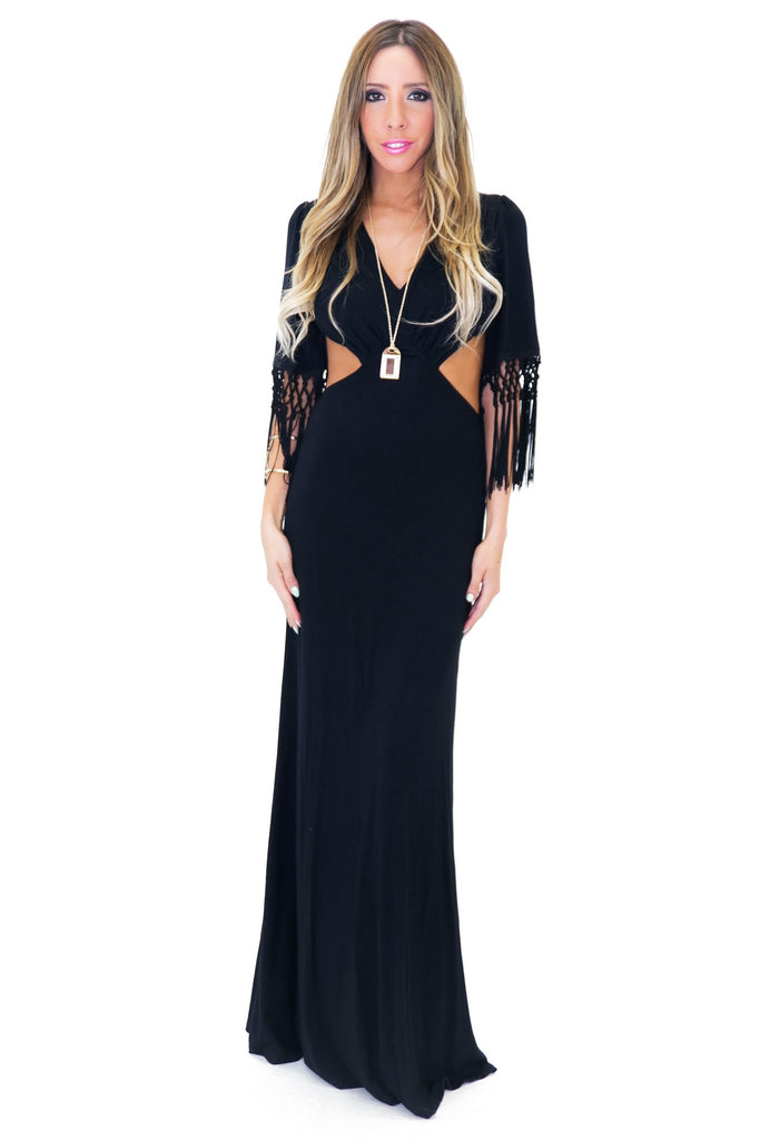 BELLNA FRINGE SLEEVE MAXI DRESS - Haute & Rebellious