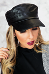 Faux Leather Fisherman Cap