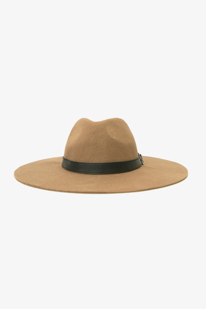 Leather Detailing Floppy Hat - Camel