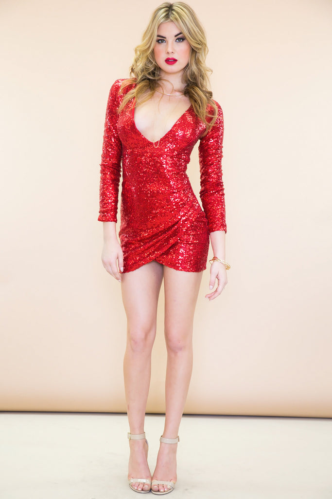 Zoe Deep-V Sequin Dress - Red