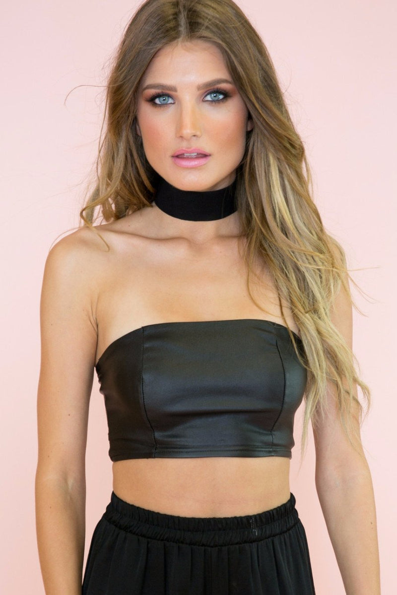 Jamela Leather Crop Top /// ONLY 1-L LEFT/// - Haute & Rebellious