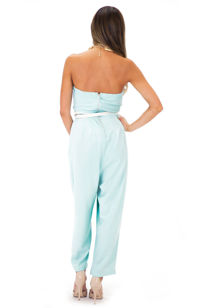 ERISSA PLEATED SWEETHEART JUMPSUIT - Pistachio