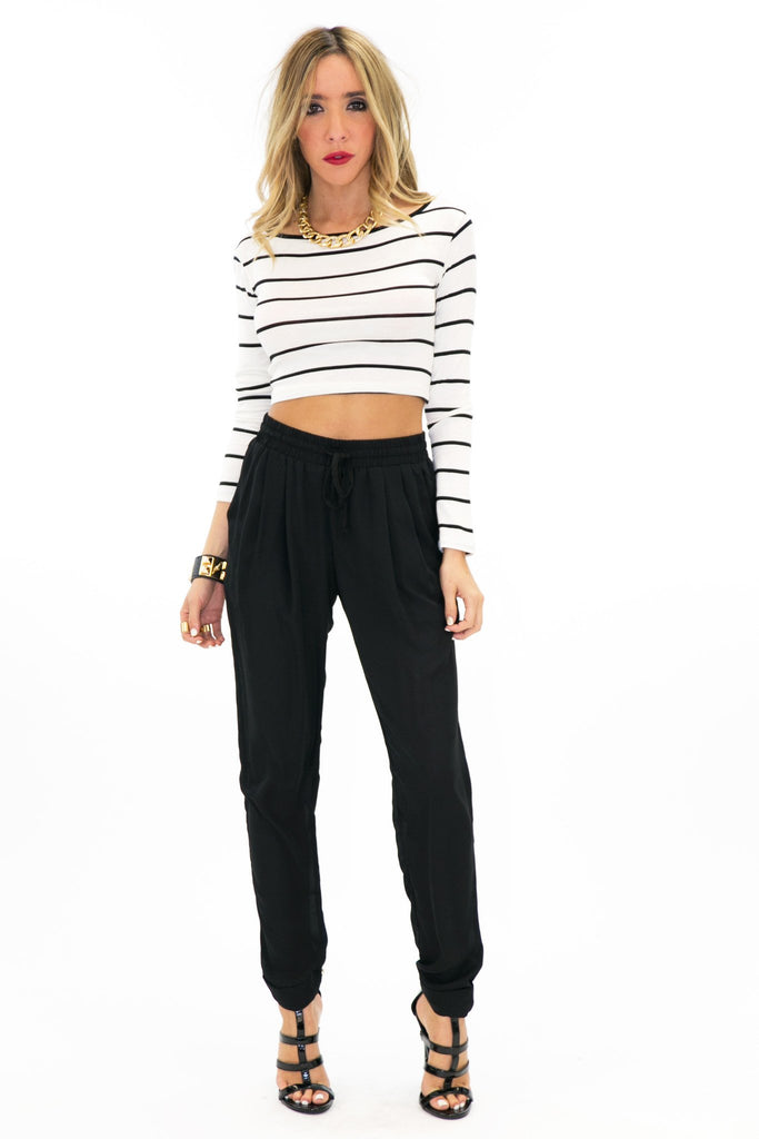 KIRBY STRIPED CROP TOP - White - Haute & Rebellious