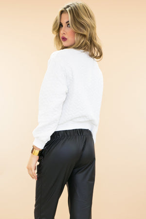 Landona Quilted Crop Sweatshirt - White - Haute & Rebellious
