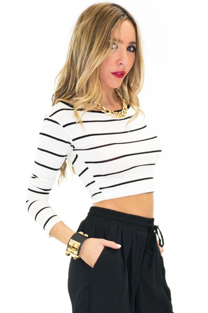 KIRBY STRIPED CROP TOP - White