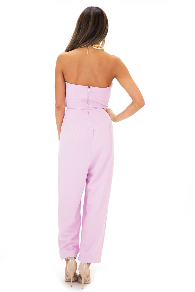 ERISSA PLEATED SWEETHEART JUMPSUIT - Lavender