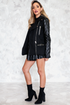 Jacket with Faux Leather Contrast Sleeve