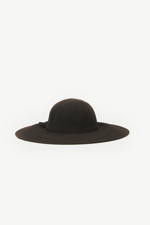 Floppy Circular Crown Wool Hat - Brown
