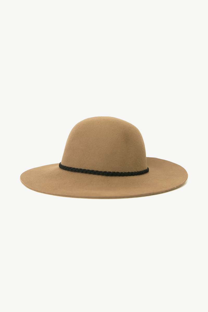 Round Wool Hat with Braided Leather