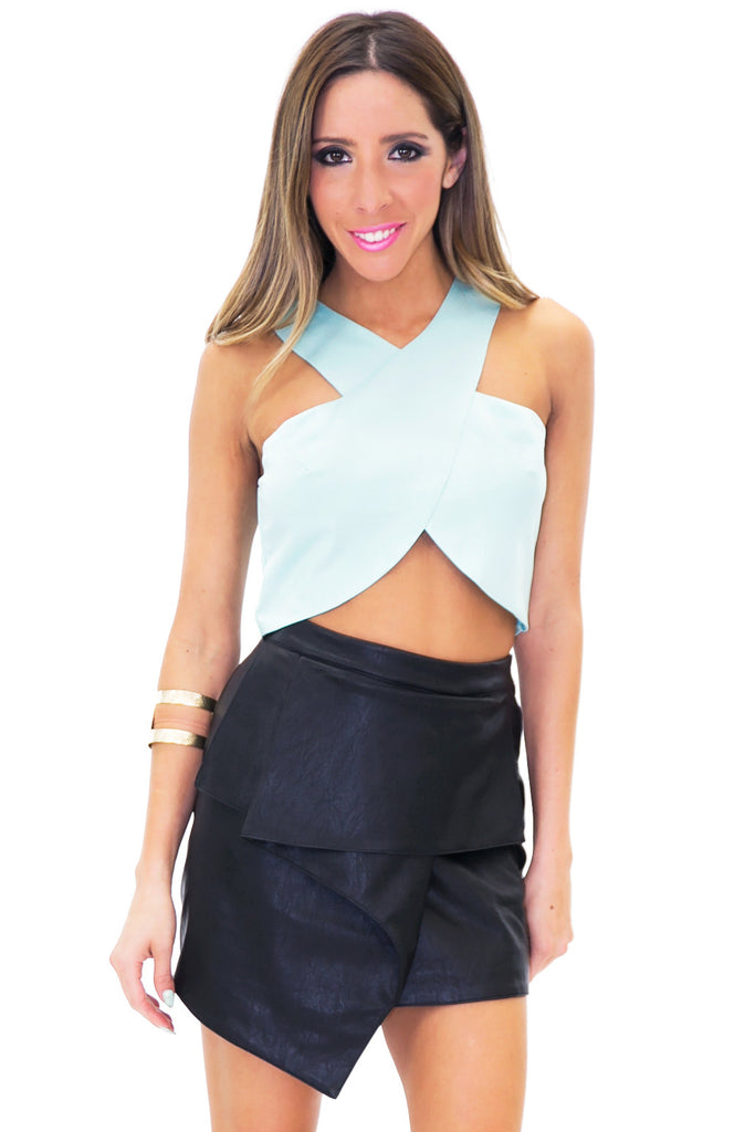 RECKER CROSS CROP TOP - Pistachio