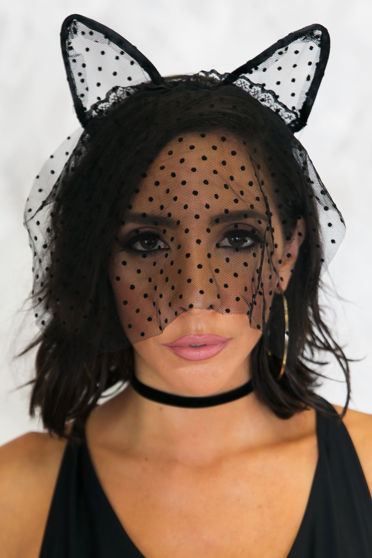 Mistress Nights Lace Vail Cat Ears - Haute & Rebellious