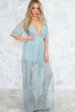 Embroidery Lace Maxi Dress - Sapphire - Haute & Rebellious