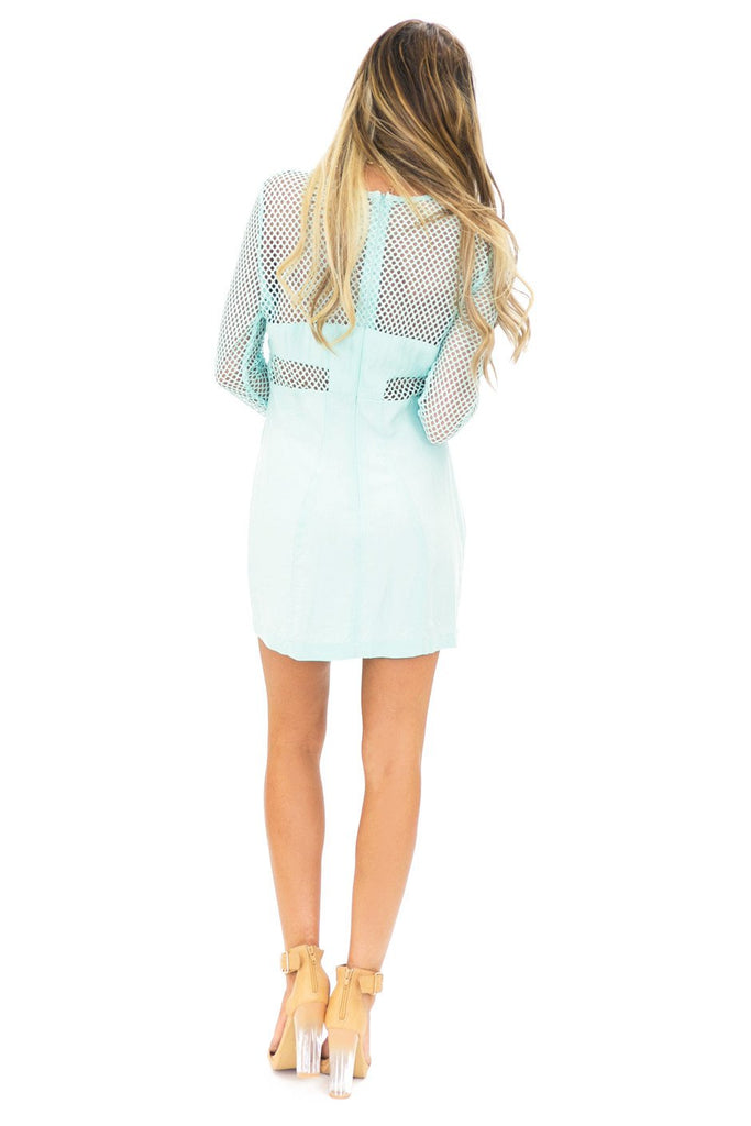 NET CUTOUT BODYCON DRESS - Mint (Final Sale)