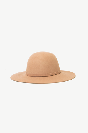 Floppy Circular Crown Wool Hat - Nude