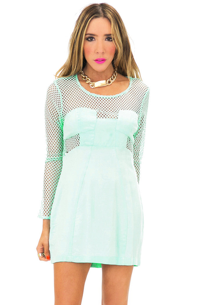 NET CUTOUT BODYCON DRESS - Mint (Final Sale) - Haute & Rebellious