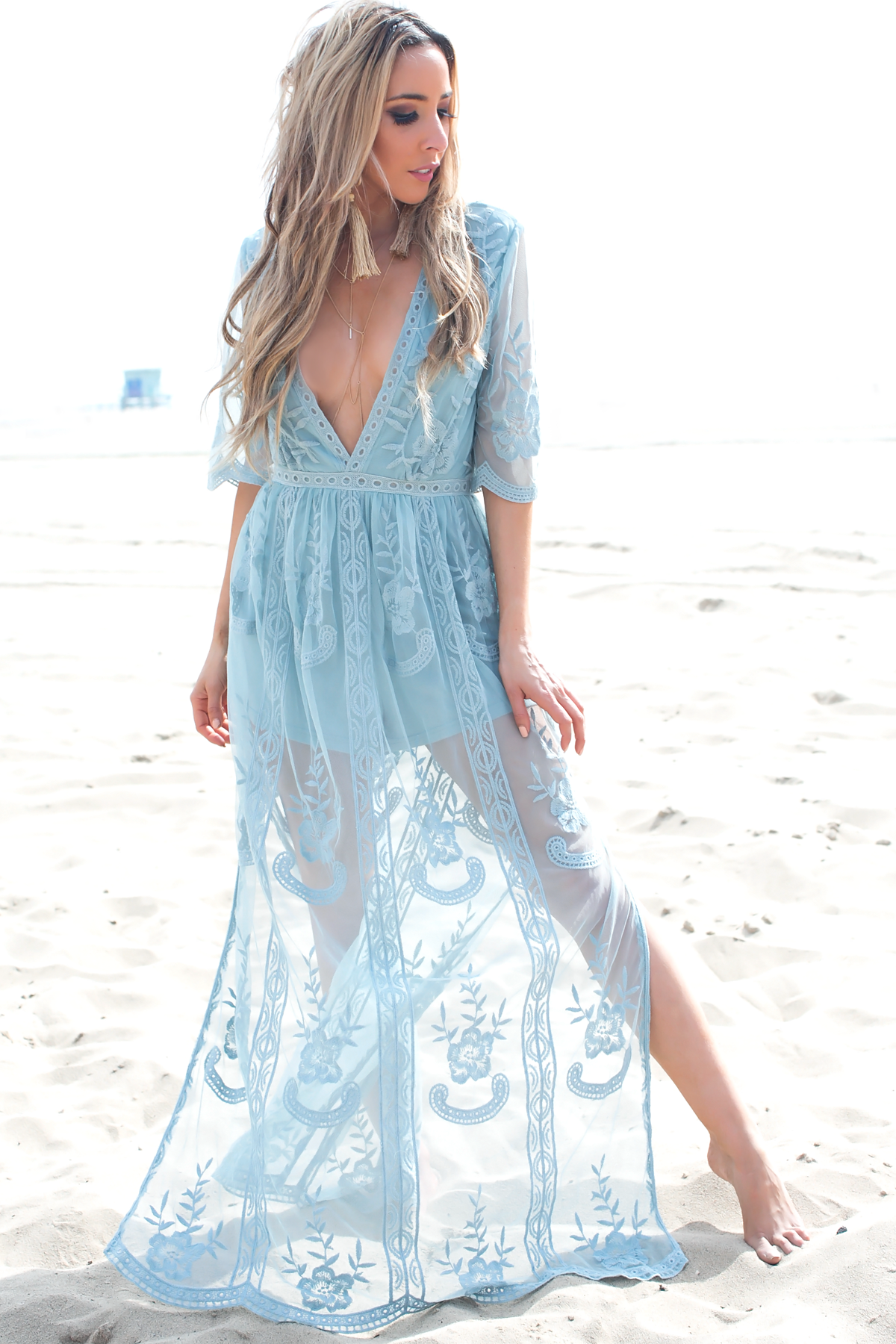 Embroidery Lace Maxi Dress - Sapphire