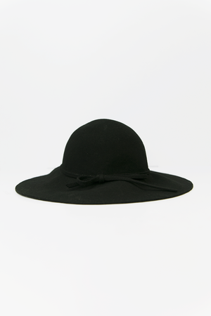 Floppy Circular Crown Wool Hat - Black
