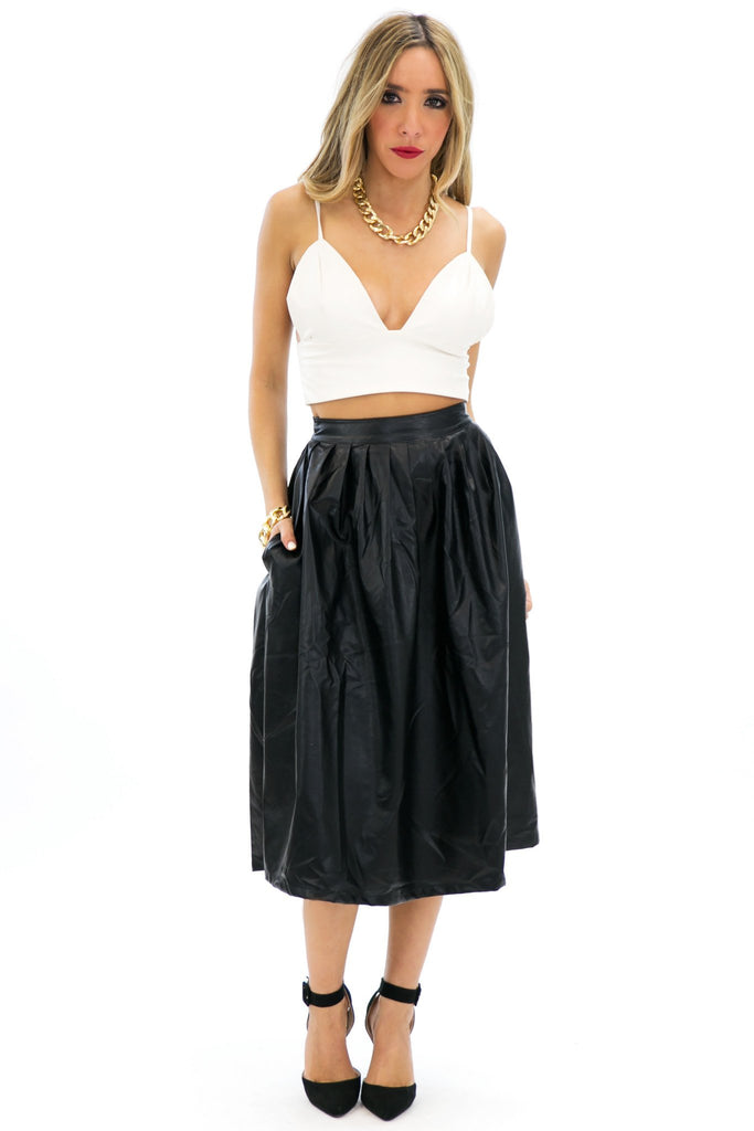 BELA MIDI A-LINE VEGAN LEATHER SKIRT