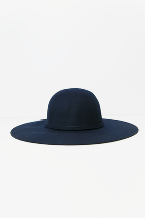 Floppy Circular Crown Wool Hat - Navy