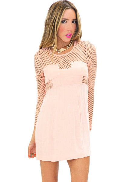 NET CUTOUT BODYCON DRESS - Peach (Final Sale)
