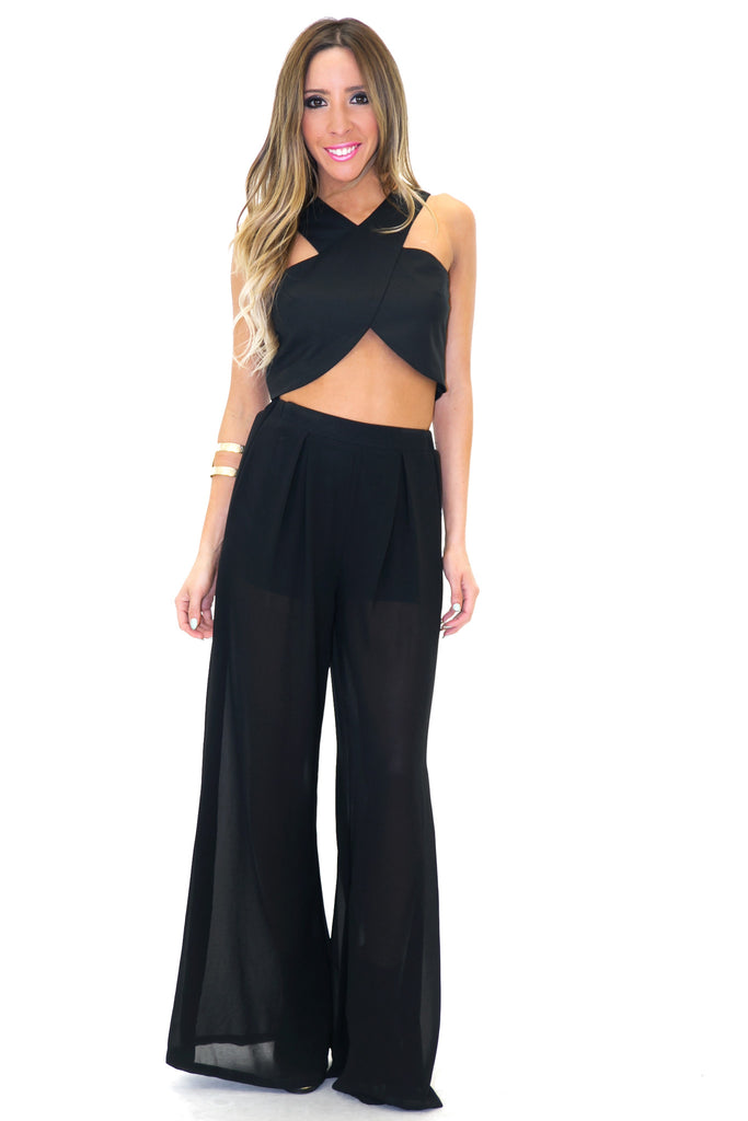RECKER CROSS CROP TOP - Black