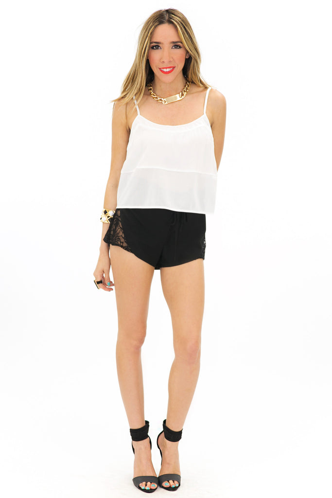 SENILA CROPPED TOP - White