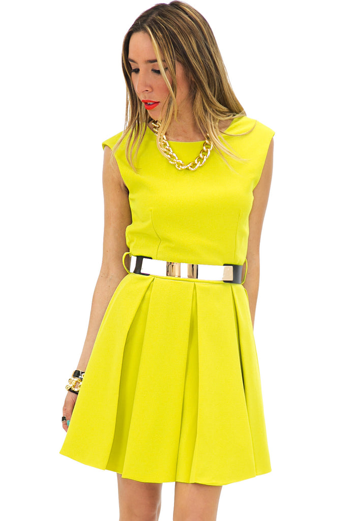 OPEN BACK A-LINE DRESS WITH BELT