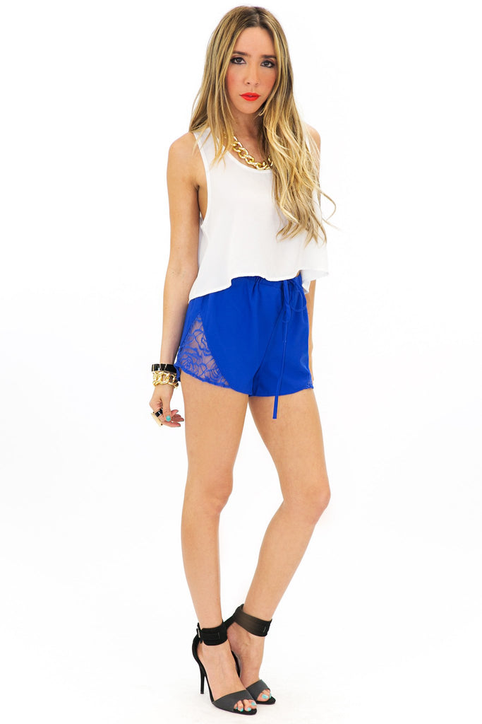 FRONT TIE LACE SHORTS - Blue