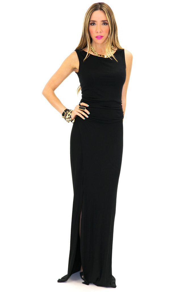 JERSEY HIGH SLIT MAXI DRESS