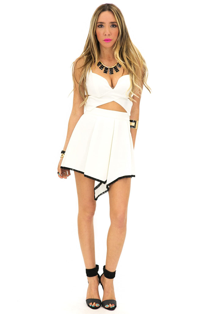 FRONT POINT ZIP SKIRT - Off White
