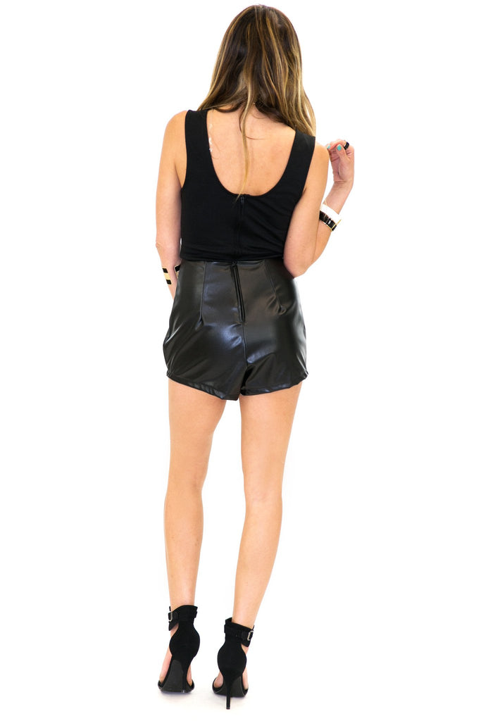 LEATHER V-NECK ROMPER - Black - Haute & Rebellious