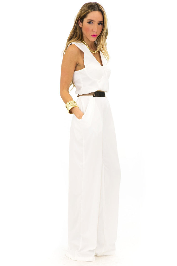 BIG POCKET JUMPSUIT - White