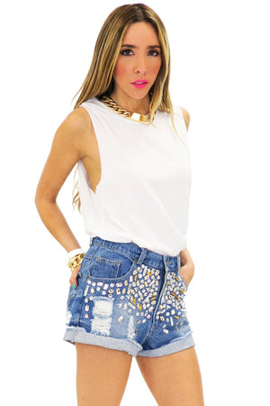 BENNIT JEWELED DENIM SHORTS - Haute & Rebellious