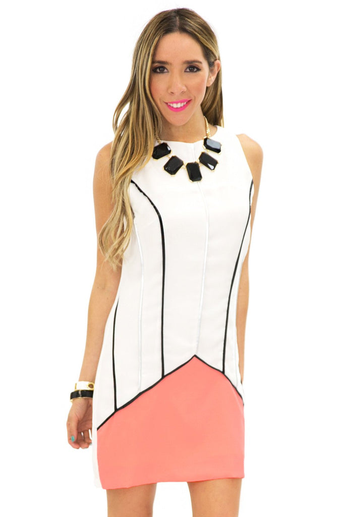 NEON CONTRAST VERTICAL STRIPE DRESS