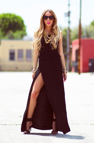 JERSEY HIGH SLIT MAXI DRESS - Haute & Rebellious