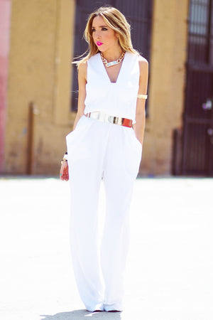 BIG POCKET JUMPSUIT - White - Haute & Rebellious