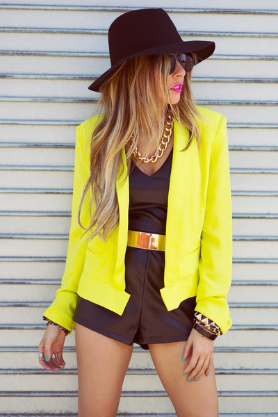 NEON SHOULDER PAD BLAZER - Haute & Rebellious