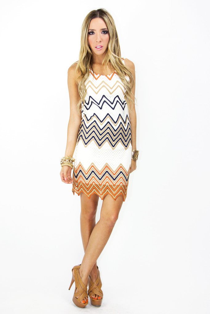 ZIG-ZAG DRESS - White/Orange/Blue