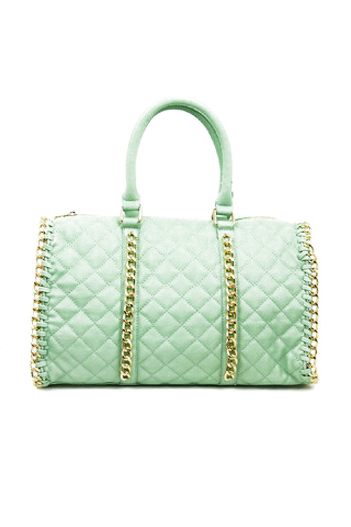 QUILTED TOTE WITH GOLD CHAIN TRIM - Mint - Haute & Rebellious