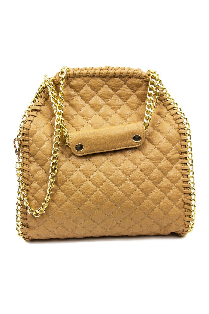 QUILTED LARGE SLIM BAG - Tan - Haute & Rebellious