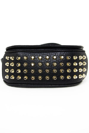 GOLD STUDDED SATCHEL - Black - Haute & Rebellious