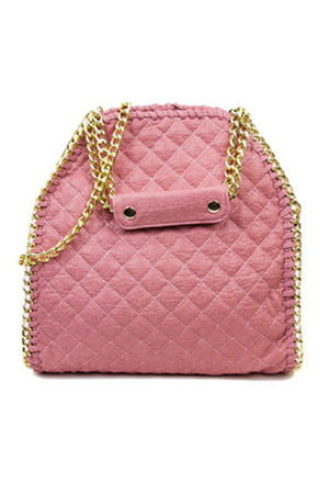 QUILTED LARGE SLIM BAG - Pink - Haute & Rebellious