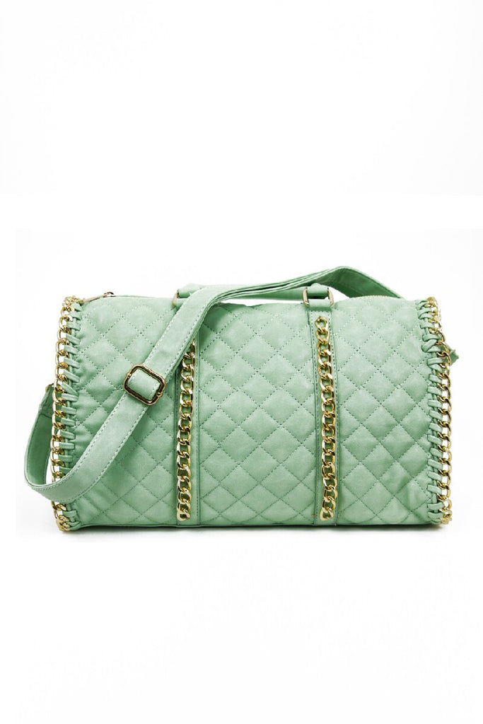 QUILTED TOTE WITH GOLD CHAIN TRIM - Mint