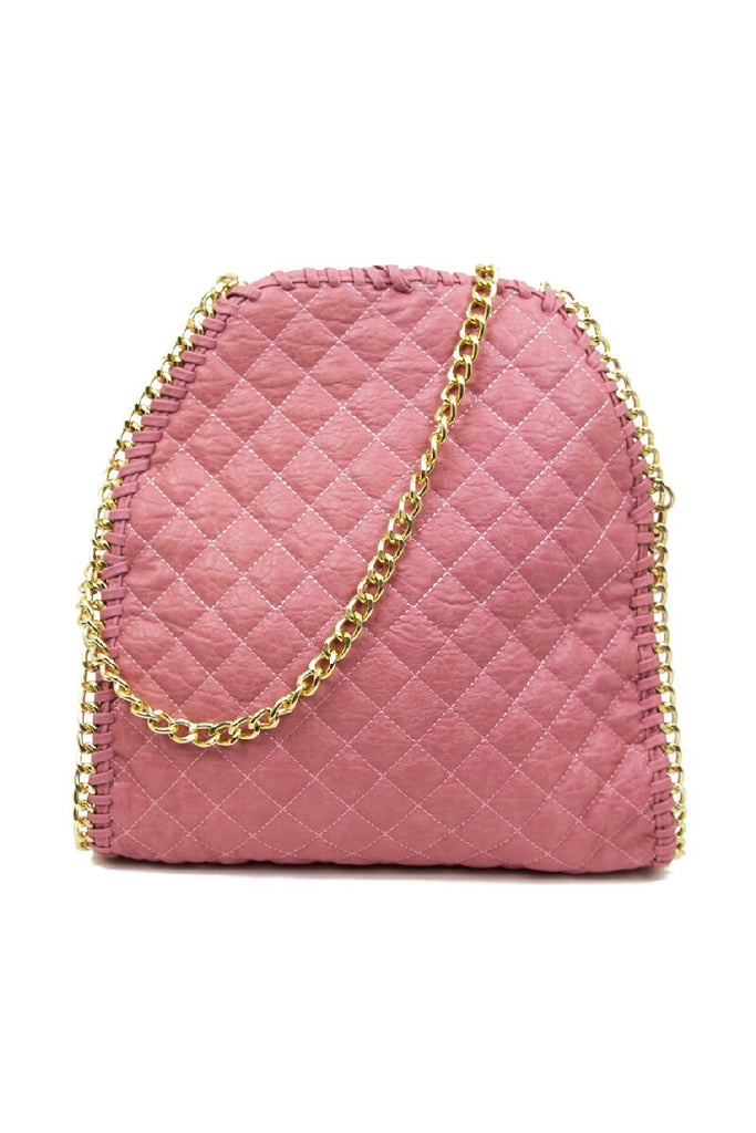 QUILTED LARGE SLIM BAG - Pink